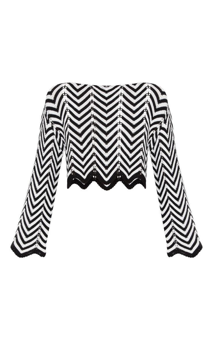 Monochrome Zig Zag Crochet Jumper 3