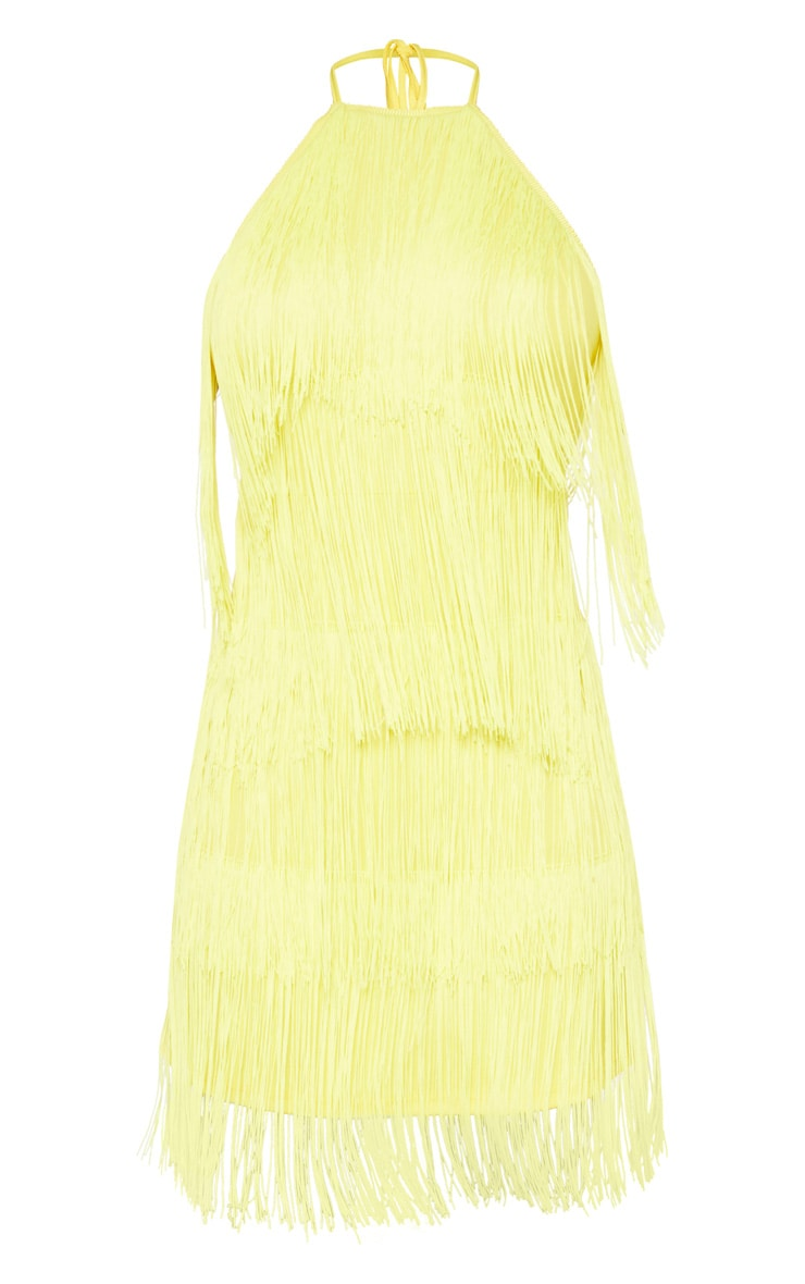 Tall Yellow Fringe Detail Halterneck Dress 3