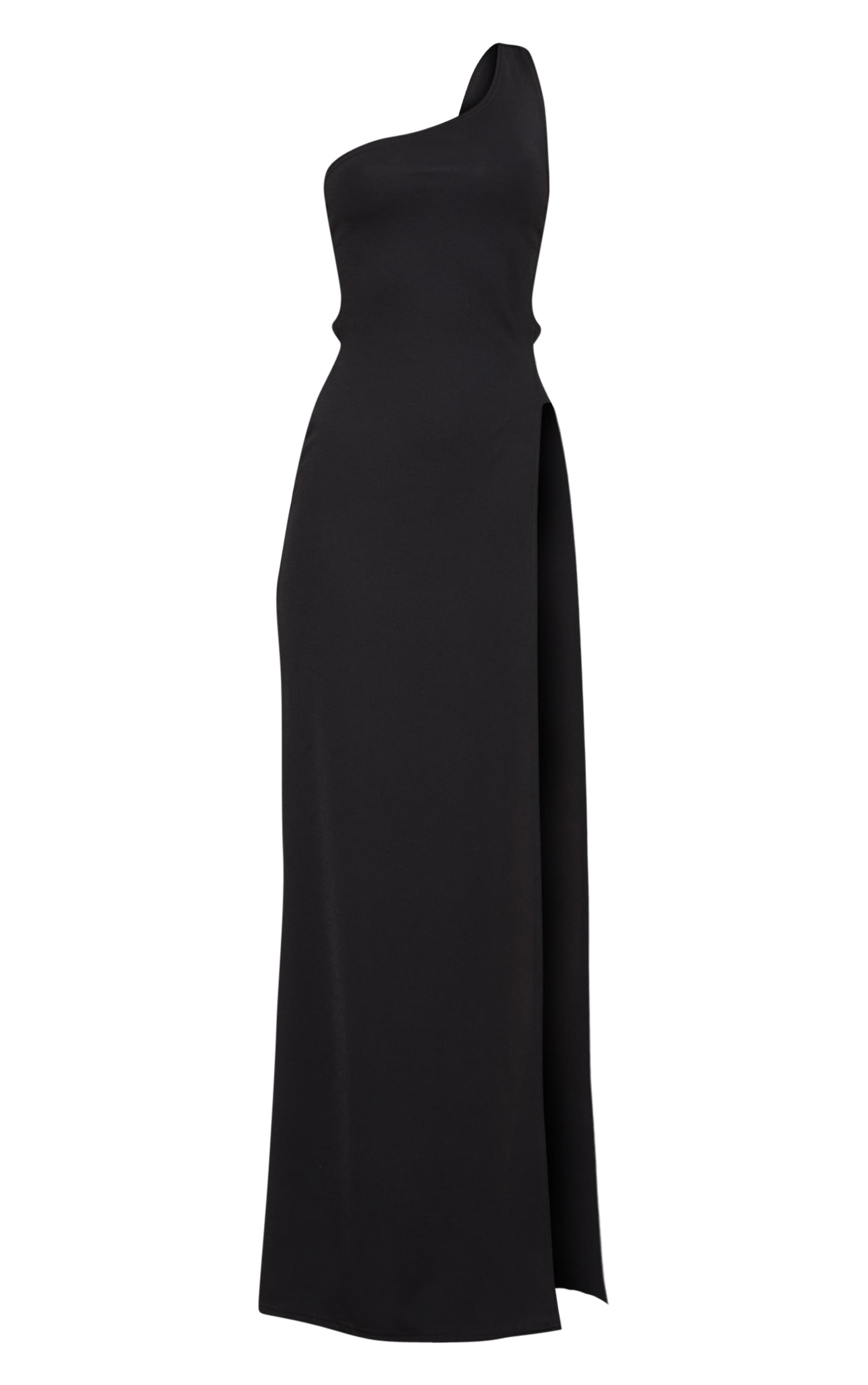 Black One Shoulder Extreme Split Cut Out Detail Maxi Dress 3
