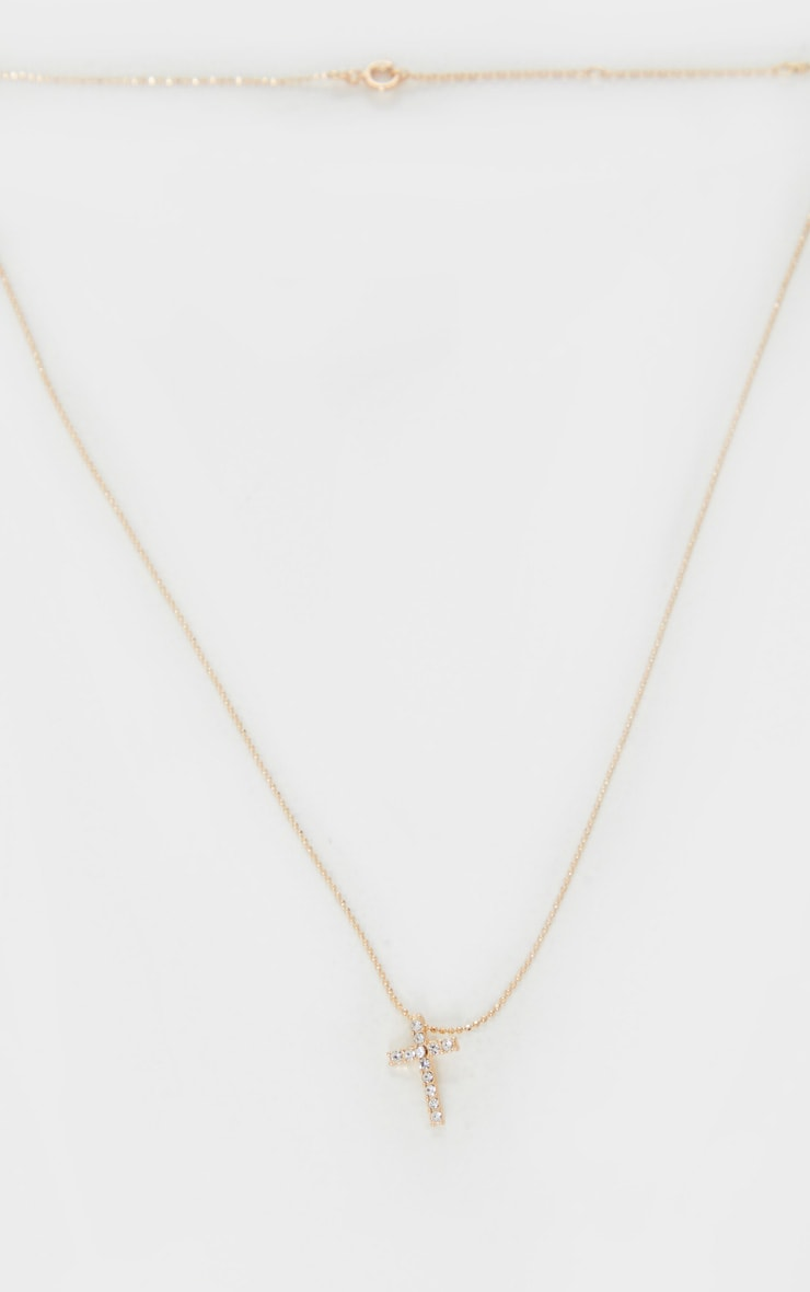 Gold Diamante Mini Cross Necklace 3