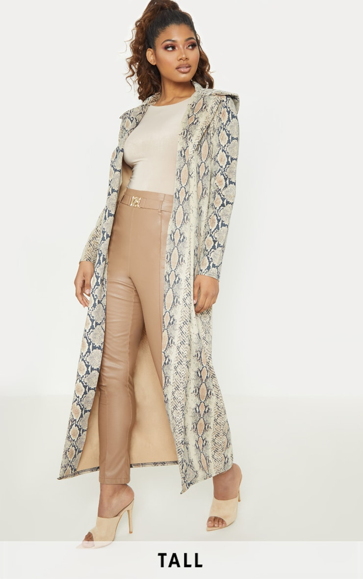 Tall Taupe Faux Suede Snake Print Longline Coat 1