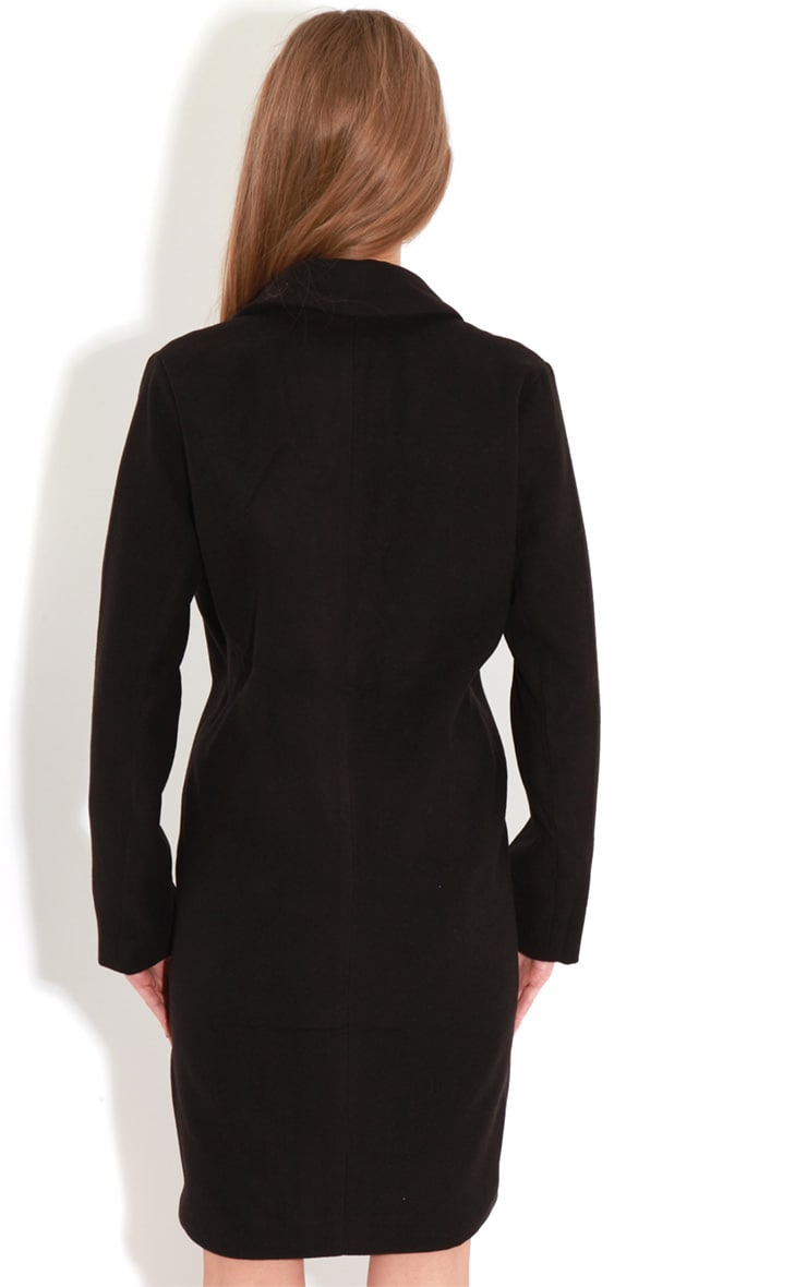 Avril Black Longline Boyfriend Coat  2
