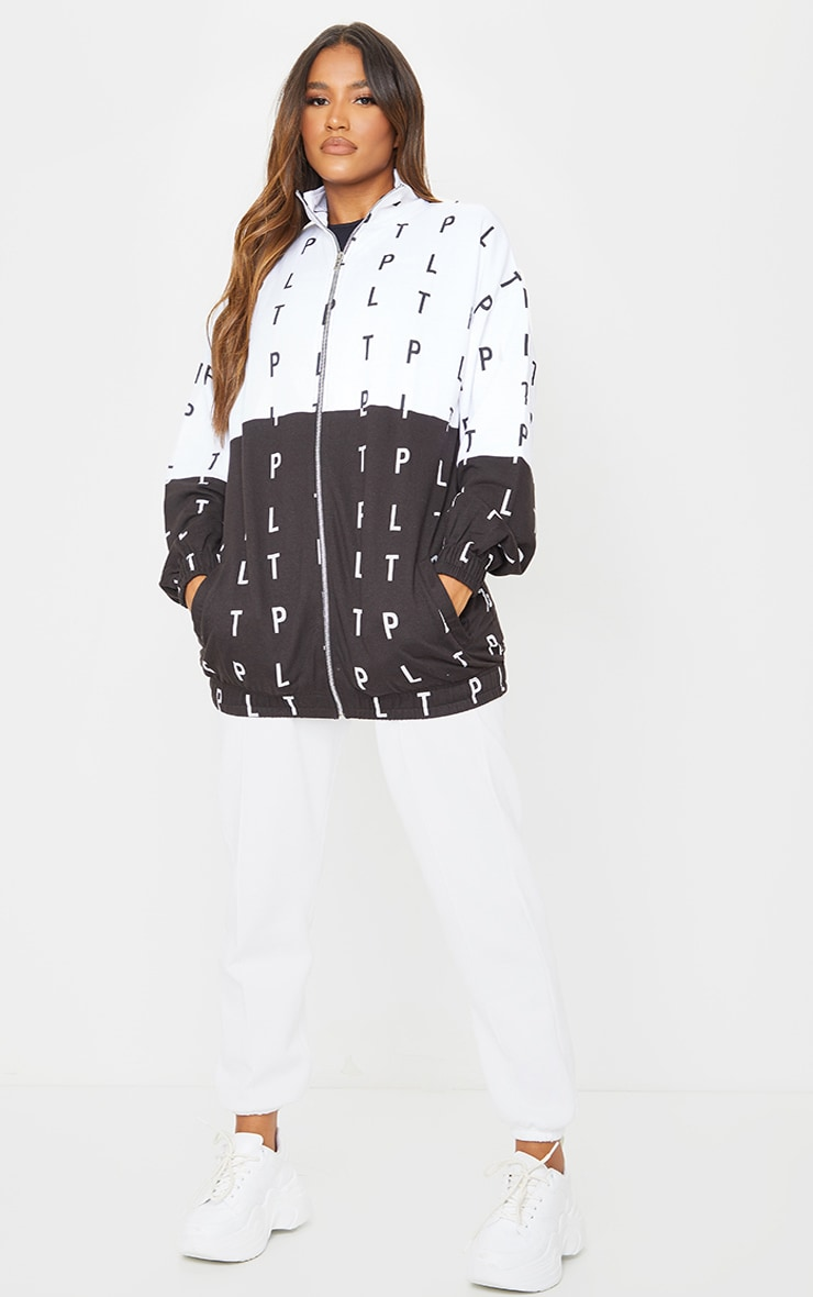 PRETTYLITTLETHING Monochrome Block Contrast Zip Up Jacket 3