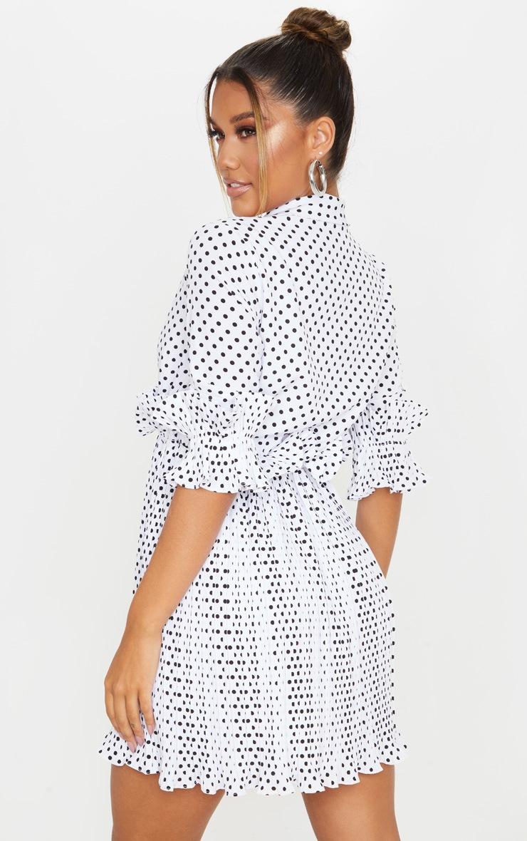 White Polka Dot Frill Detail Pleated Skater Dress 2