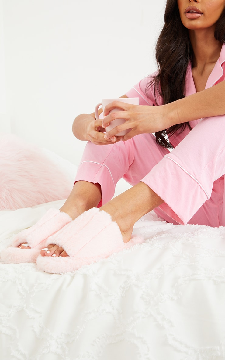 Pink Fluffy Wide Strap Slippers 2