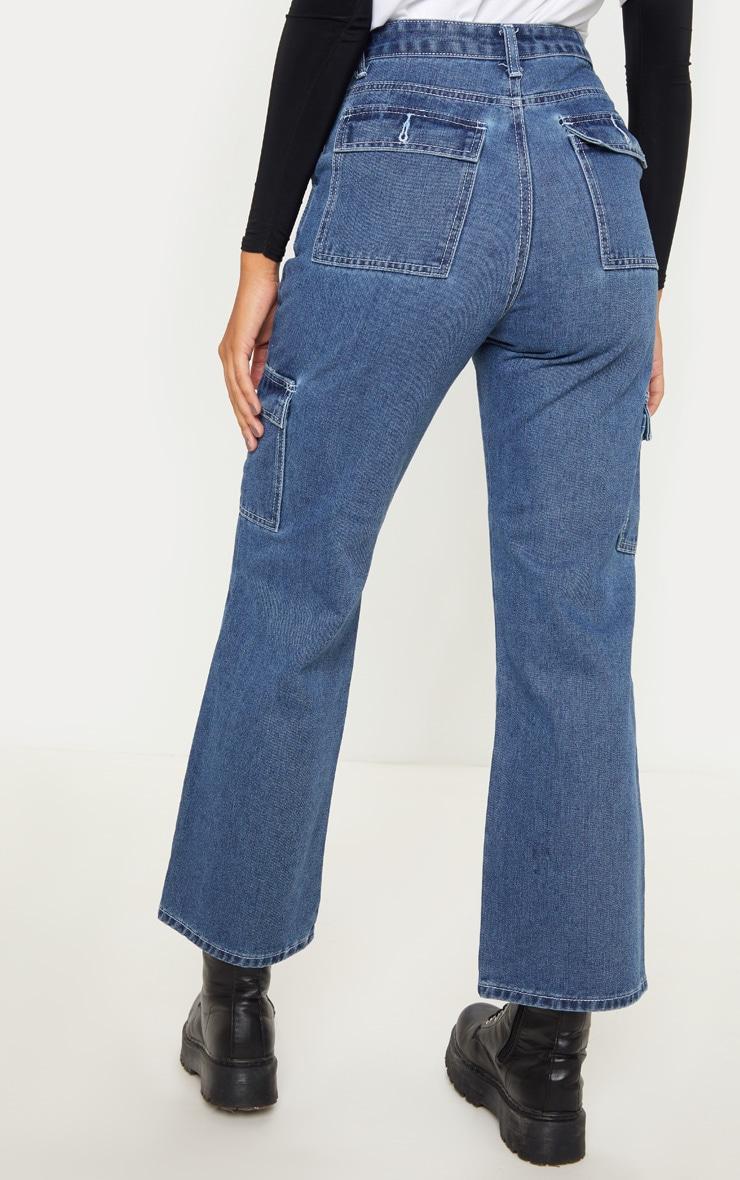 Dark Wash Contrast Stitch Cropped Wide Leg Cargo Jean 4