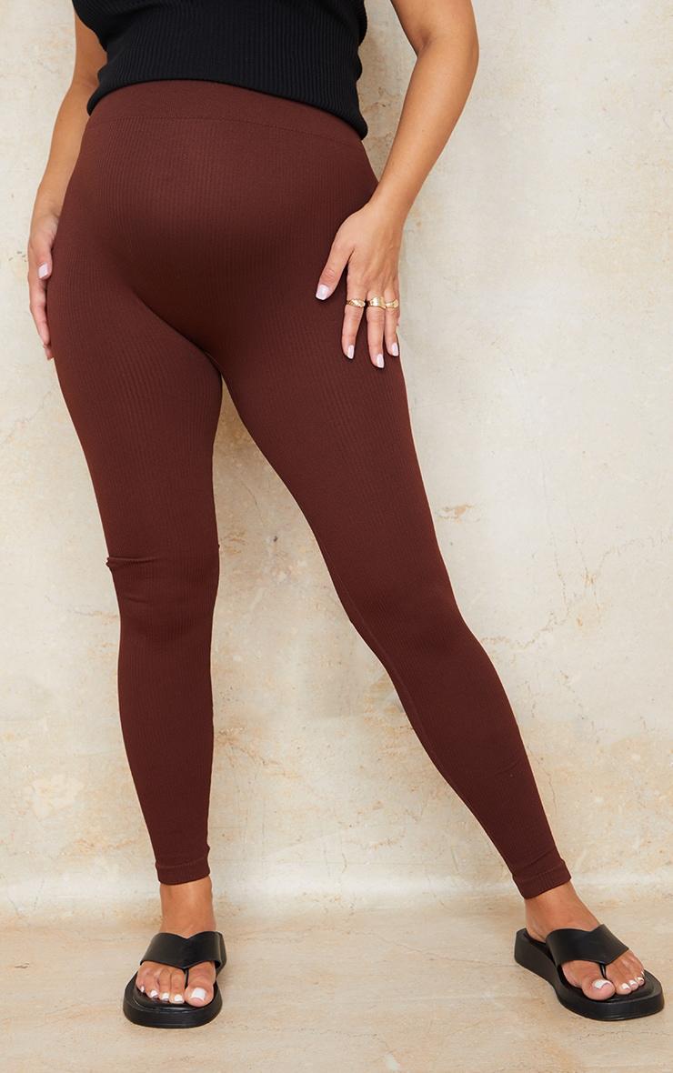 Maternity Dark Brown Contour Bump Support Ribbed Leggings 2