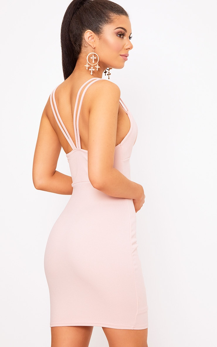 Pale Nude Double Strap Wrap Skirt Bodycon Dress 2