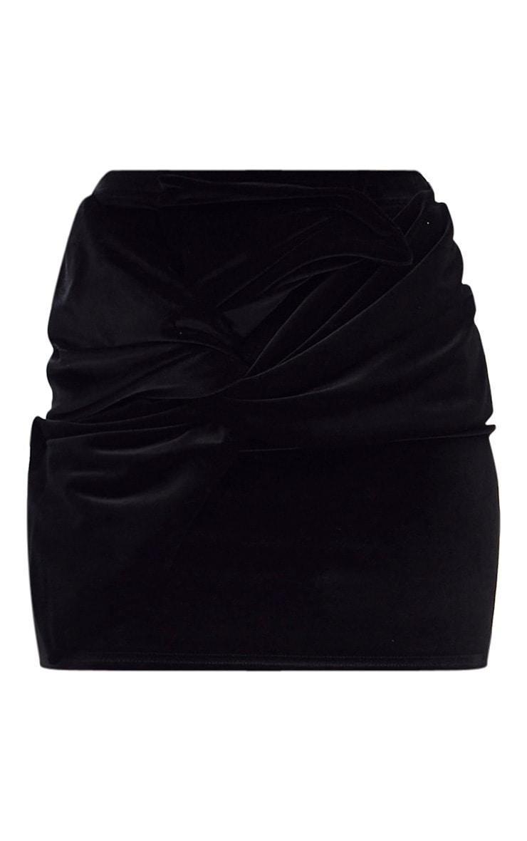 Black Velvet Bow Mini Skirt 3