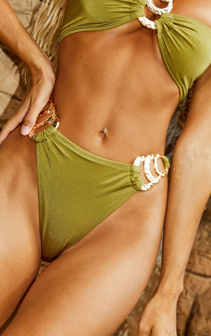 Olive Triple Ring Bikini Bottoms 4