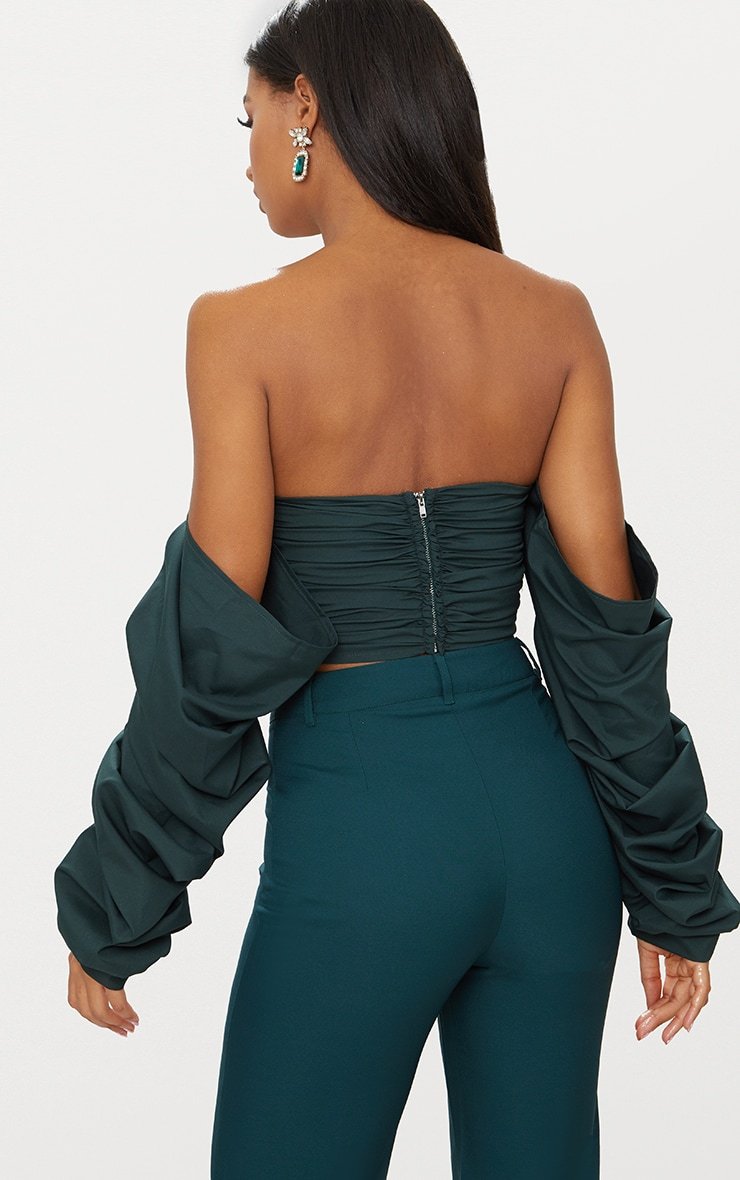 Green Ruched Front Long sleeve Blouse  2