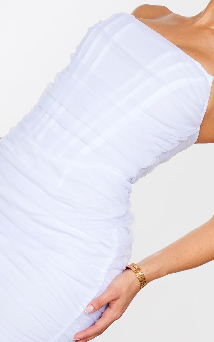 Shape White Mesh Corset Detail Ruched Bodycon Dress 4