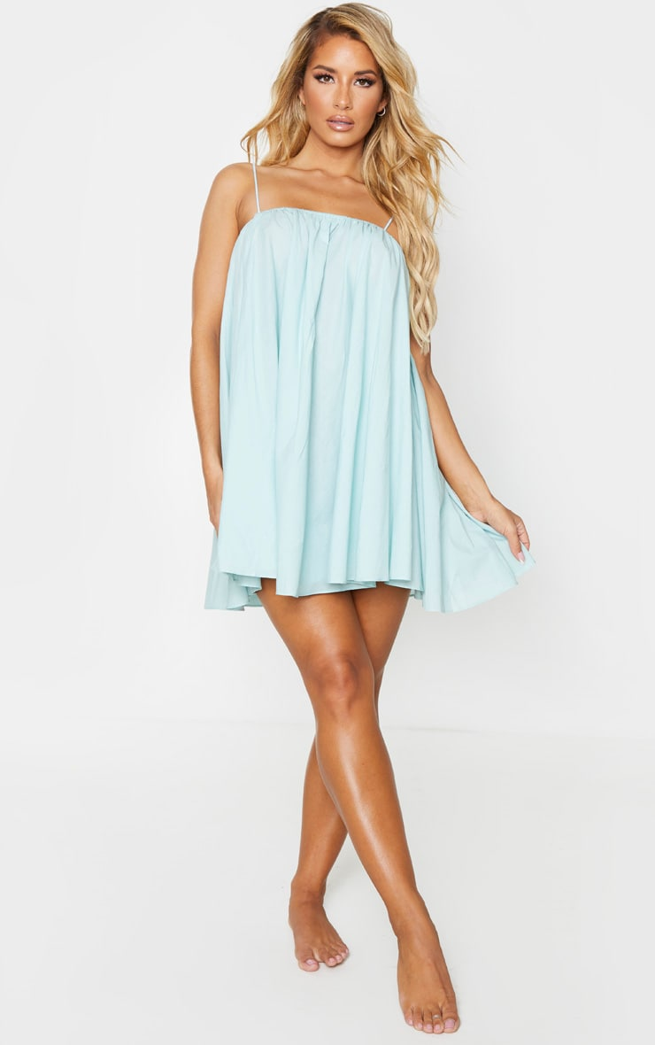 Mint Cotton Spaghetti Strap Puff Beach Dress 3