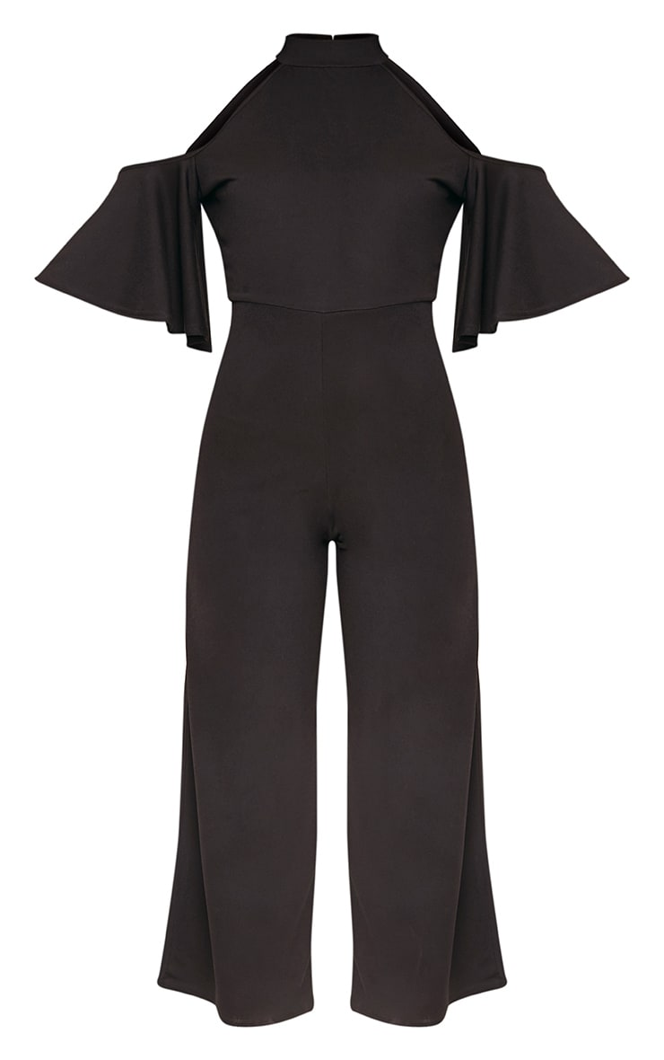 Jaymie Black Cold Shoulder Cullotte Jumpsuit 3
