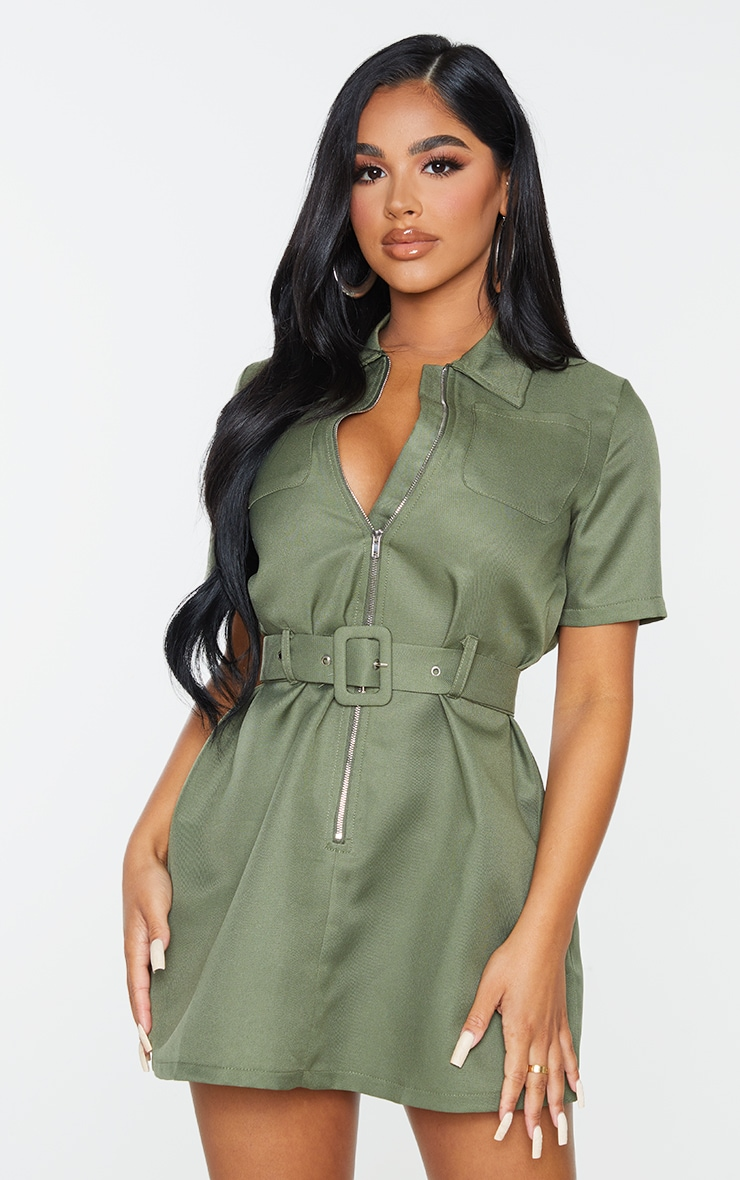 Petite Khaki Zip Detail Belted Utility Dress 1