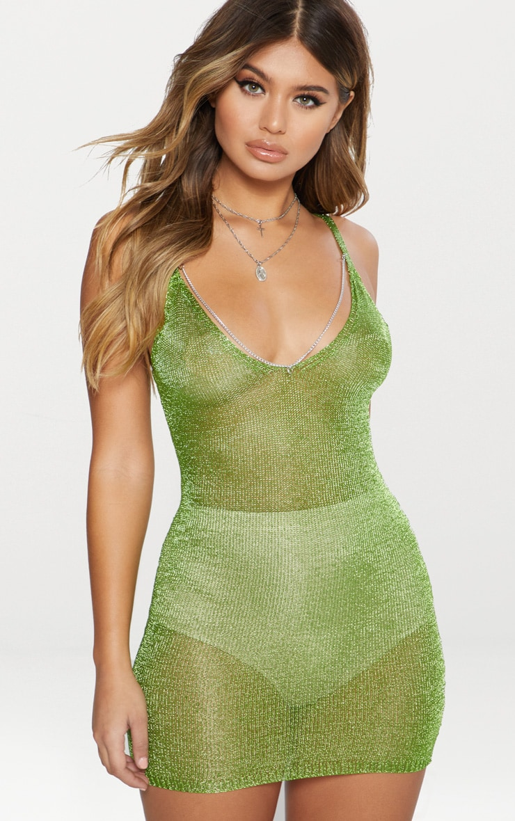 Lime Green Chain Detail Metallic Dress