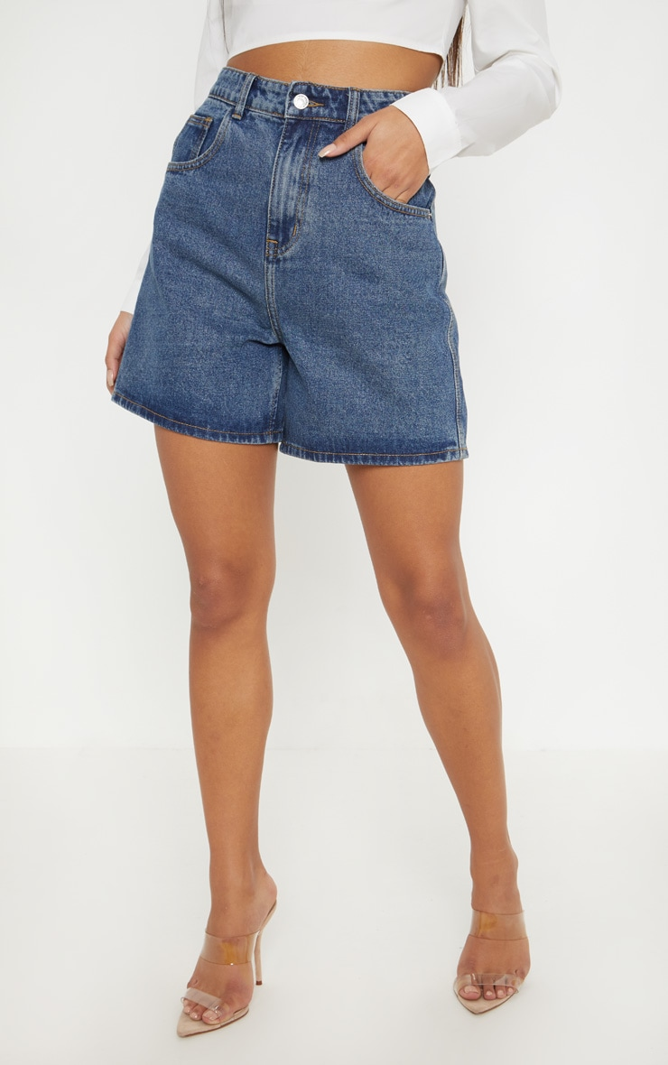 Mid Wash Longline Denim Shorts  2