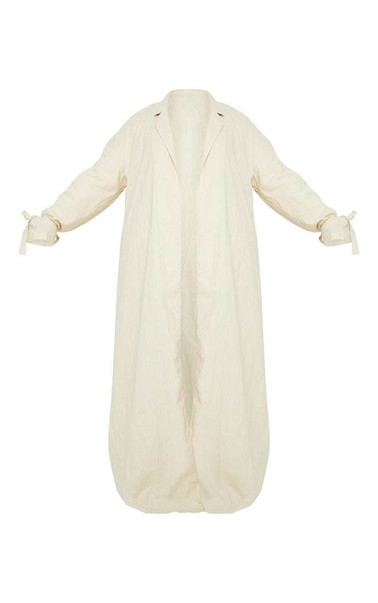 Plus Cream Woven Tie Cuff Duster Coat 5