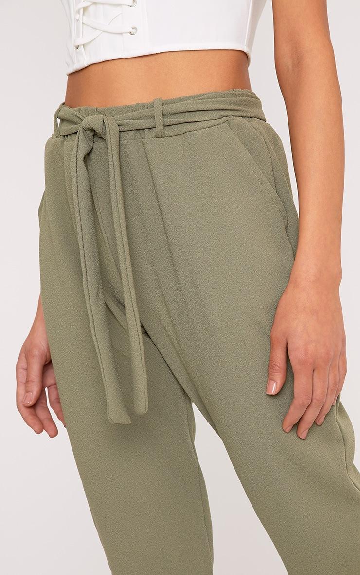Sachia Khaki Tie Waist Peg Trousers  5