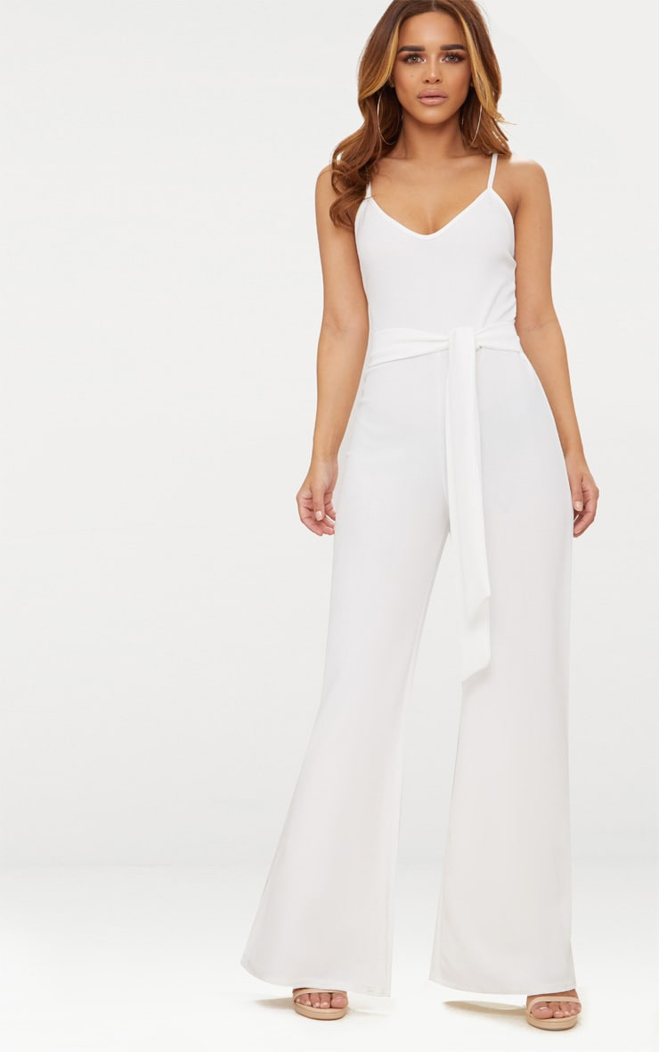 Petite White Tie Waist Wide Leg Jumpsuit 1