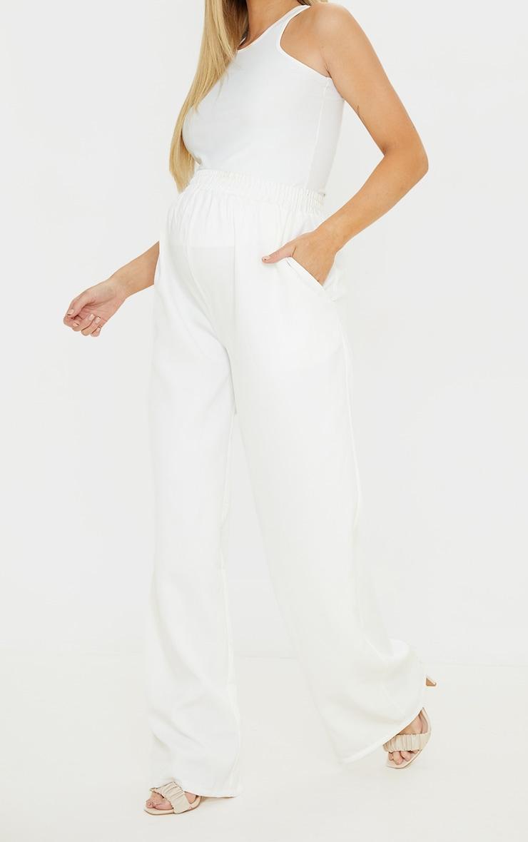 Maternity White Ruched Waist Wide Leg Pants 2