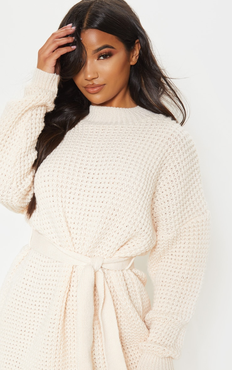 Cream Soft Touch Belted Knitted Sweater Dress 5