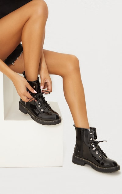 Black Chunky Lace Up Boot