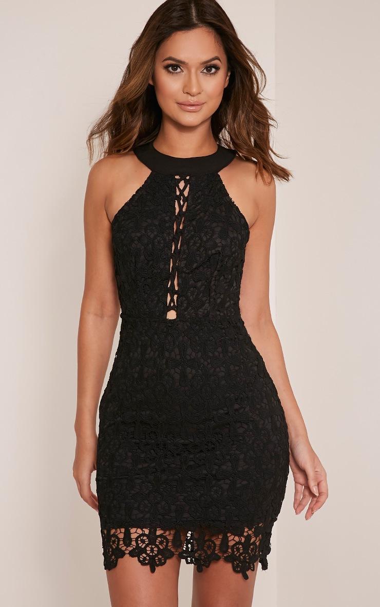 Leliana Black Crochet Lace Neck Detail Bodycon Dress 4