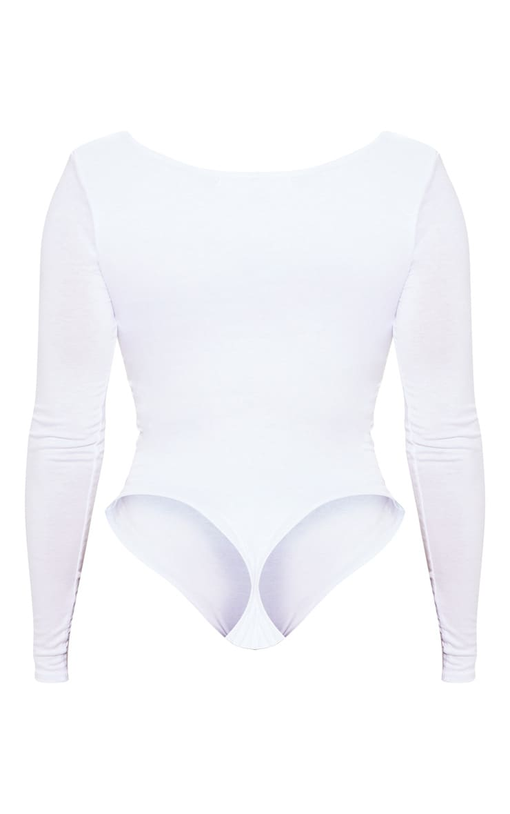 Shape White Jersey Ruched Long Sleeve Bodysuit 4