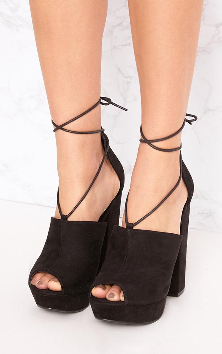 Maranda Black Faux Suede Tie Ankle Platforms 2