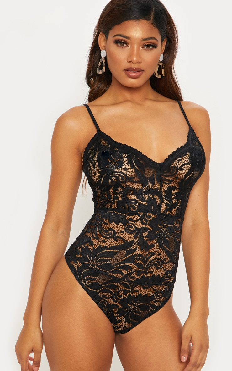 Tall Black Sheer Lace Bodysuit 2