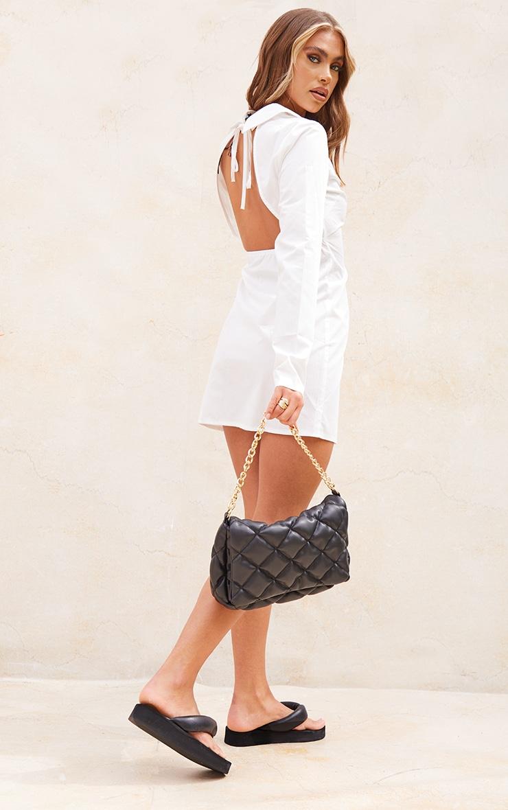 White Cut Out Tie Back Detail Shirt Dress 2