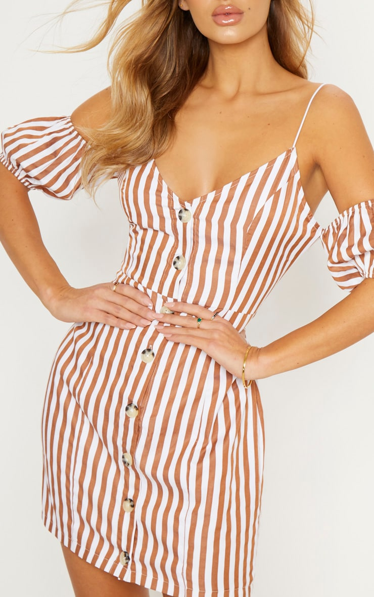 Brown Stripe Print Button Up Puff Sleeve Bodycon Dress 6