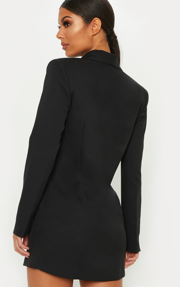 Black Gold Button Blazer Dress 2