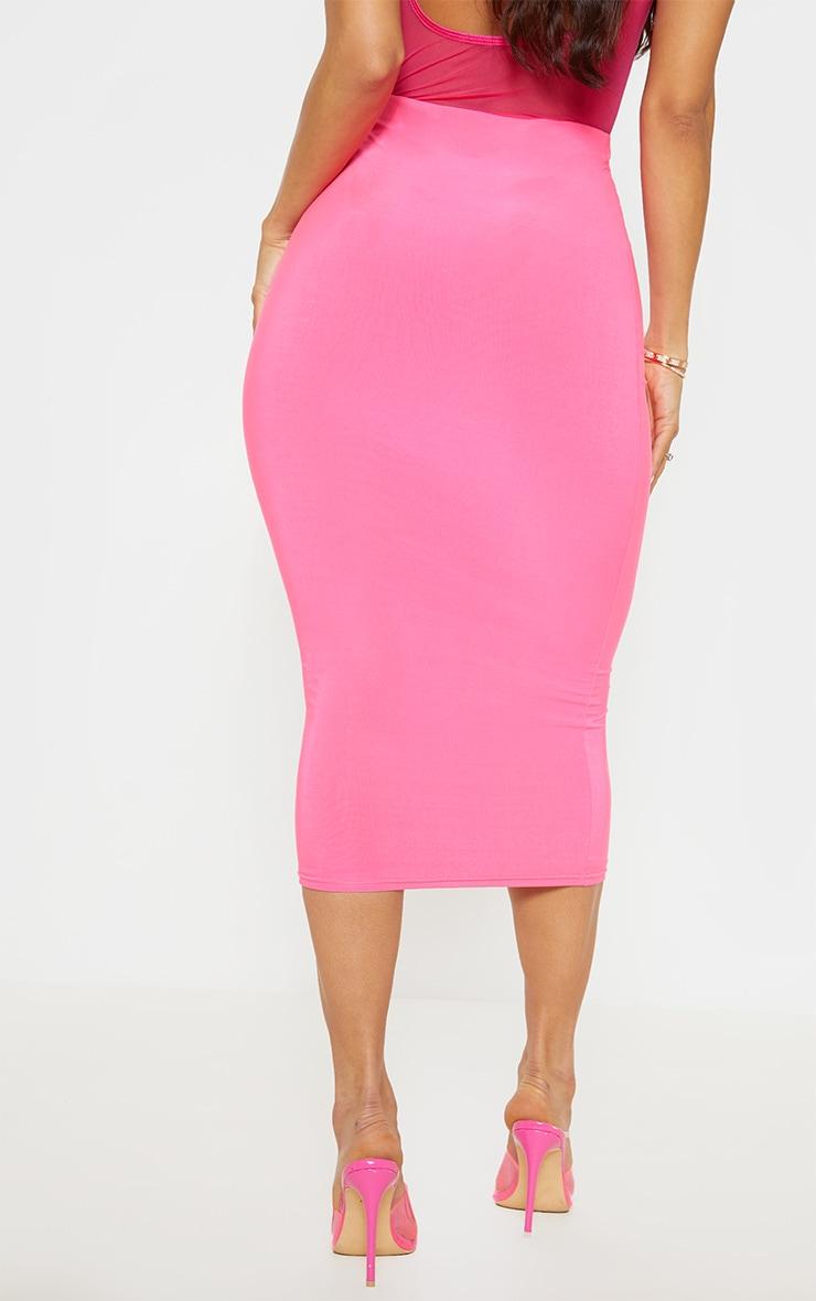 Neon Pink Slinky Midaxi Skirt 4