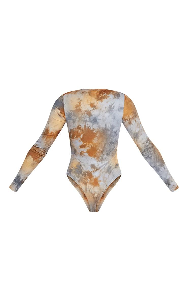 Tan Tie Dye Rib Long Sleeve Bodysuit 6