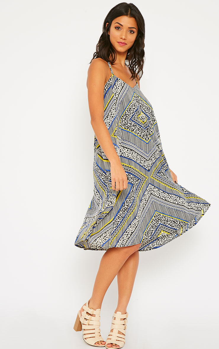 Telina Printed Plaited Strap Swing Dress 3