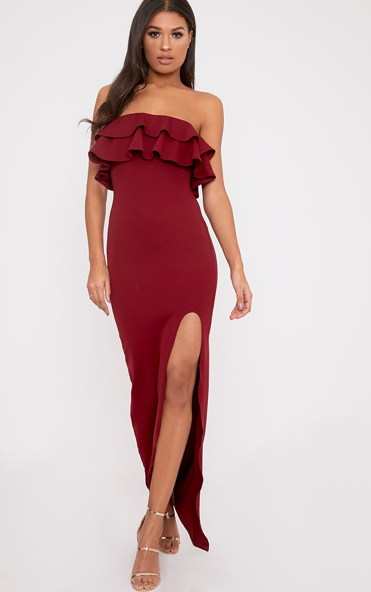 Angelique Burgundy Frill Bandeau Maxi Dress 1