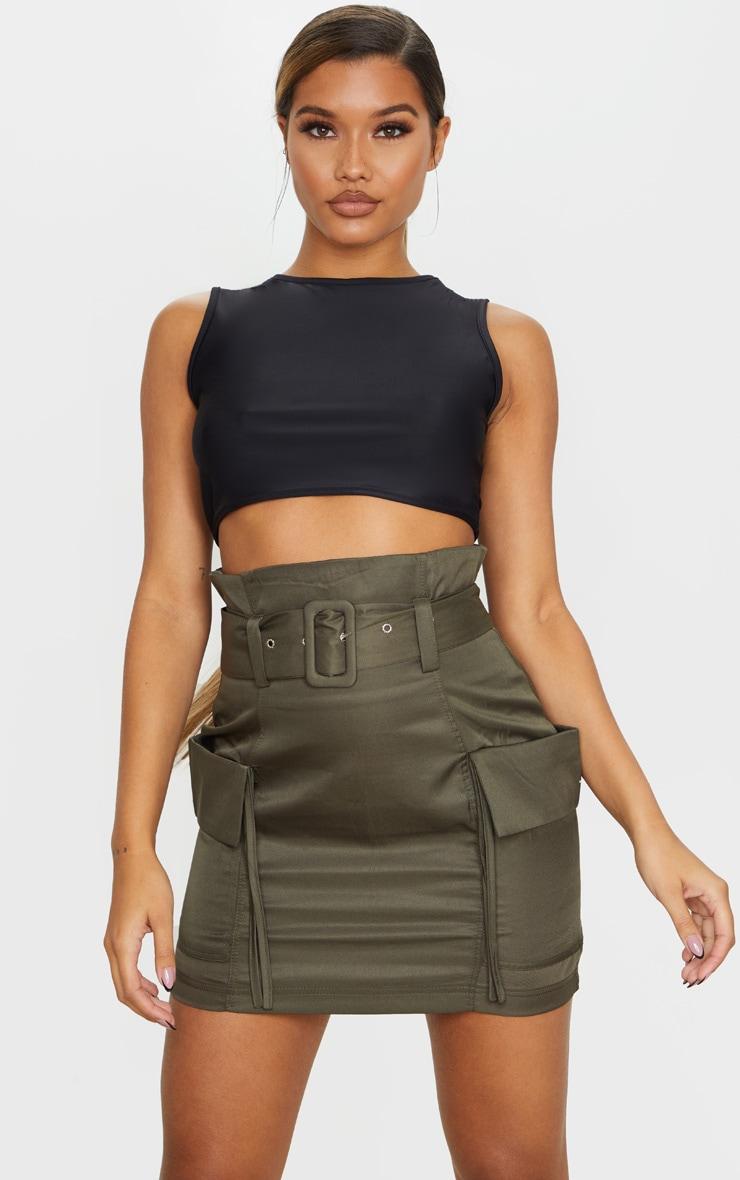 Khaki Belted Pocket Detail Cargo Mini Skirt 4