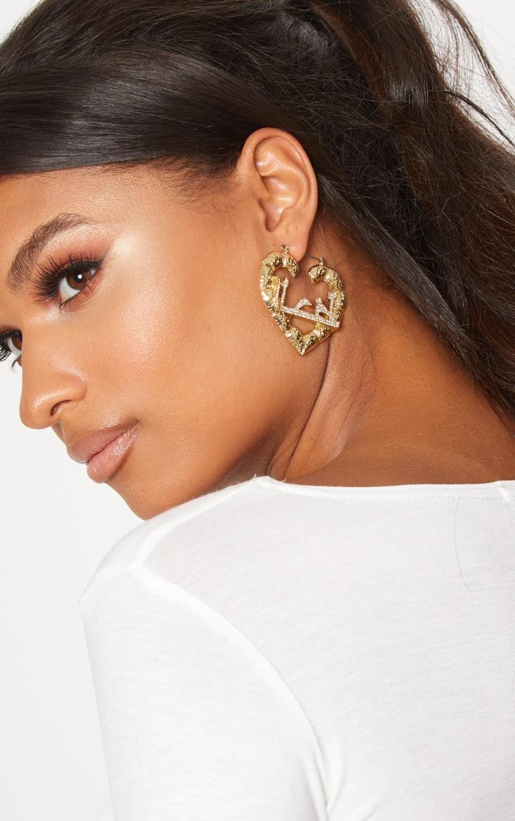 Gold Diamante Script Heart Earrings