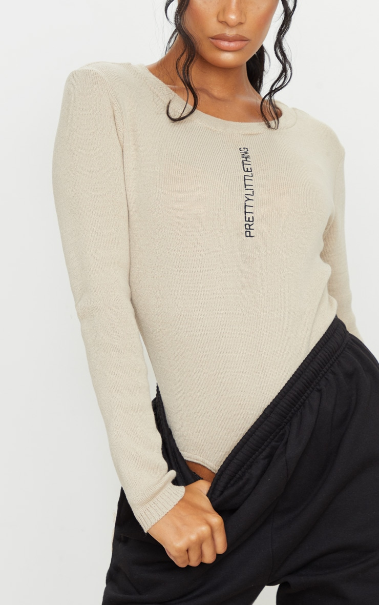 PRETTYLITTLETHING Stone Knitted Bodysuit 4