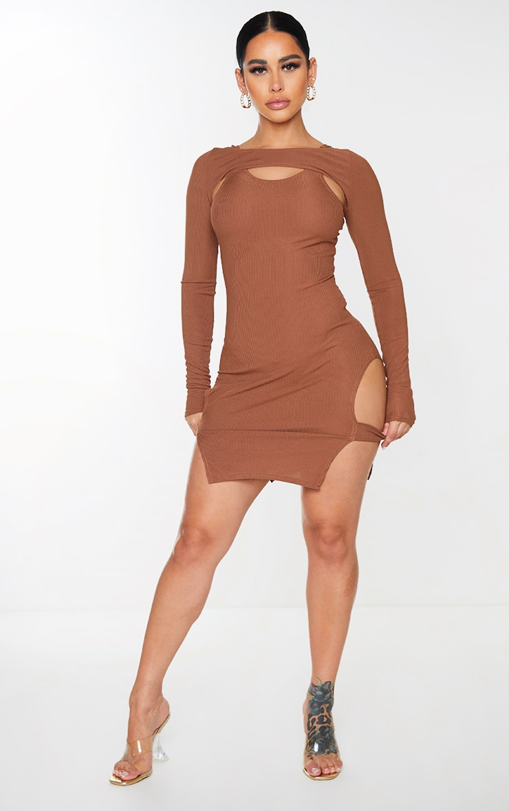 Shape Chocolate Brown Rib Cut Out Long Sleeve Bodycon Dress 3