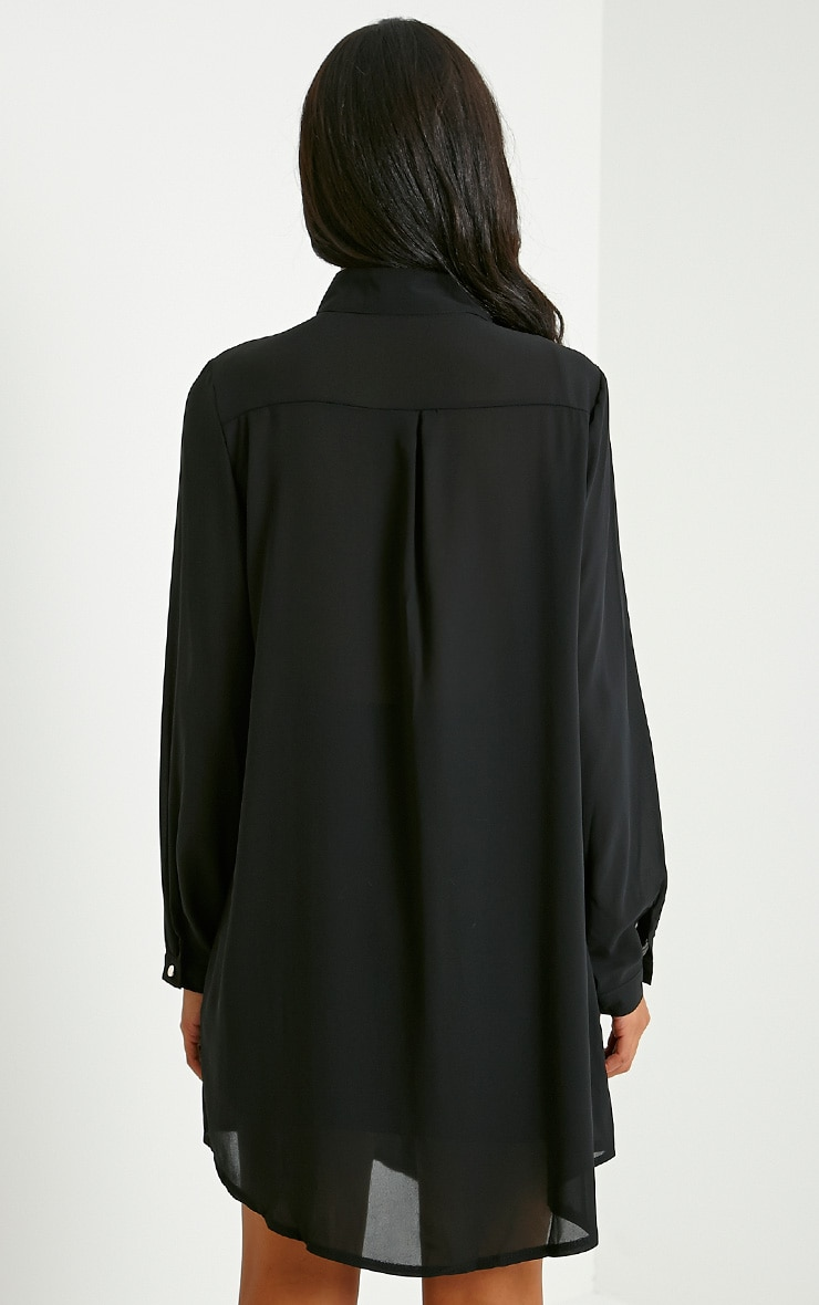 Milla Black Embroidered Sheer Shirt Dress 2