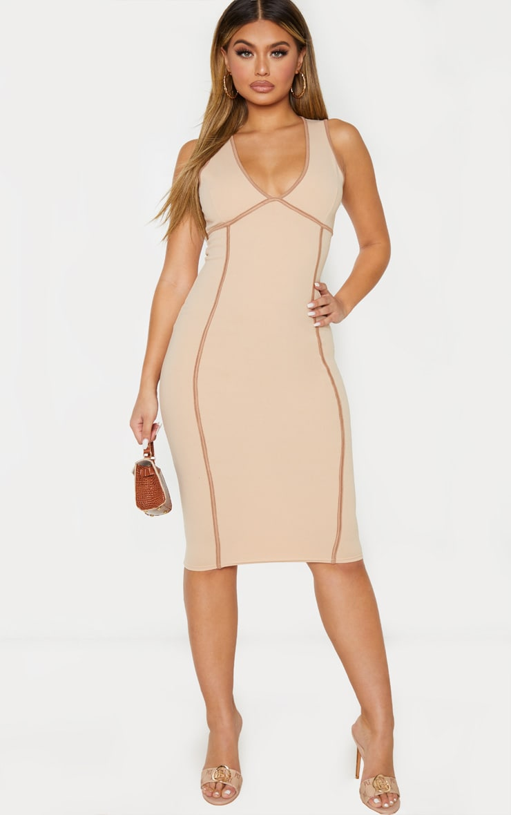 Nude Sleeveless Binding Detail Plunge Midi Dress