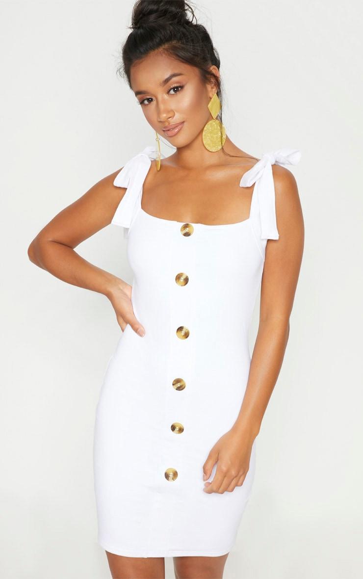 Petite White Button Front Bodycon Dress 1