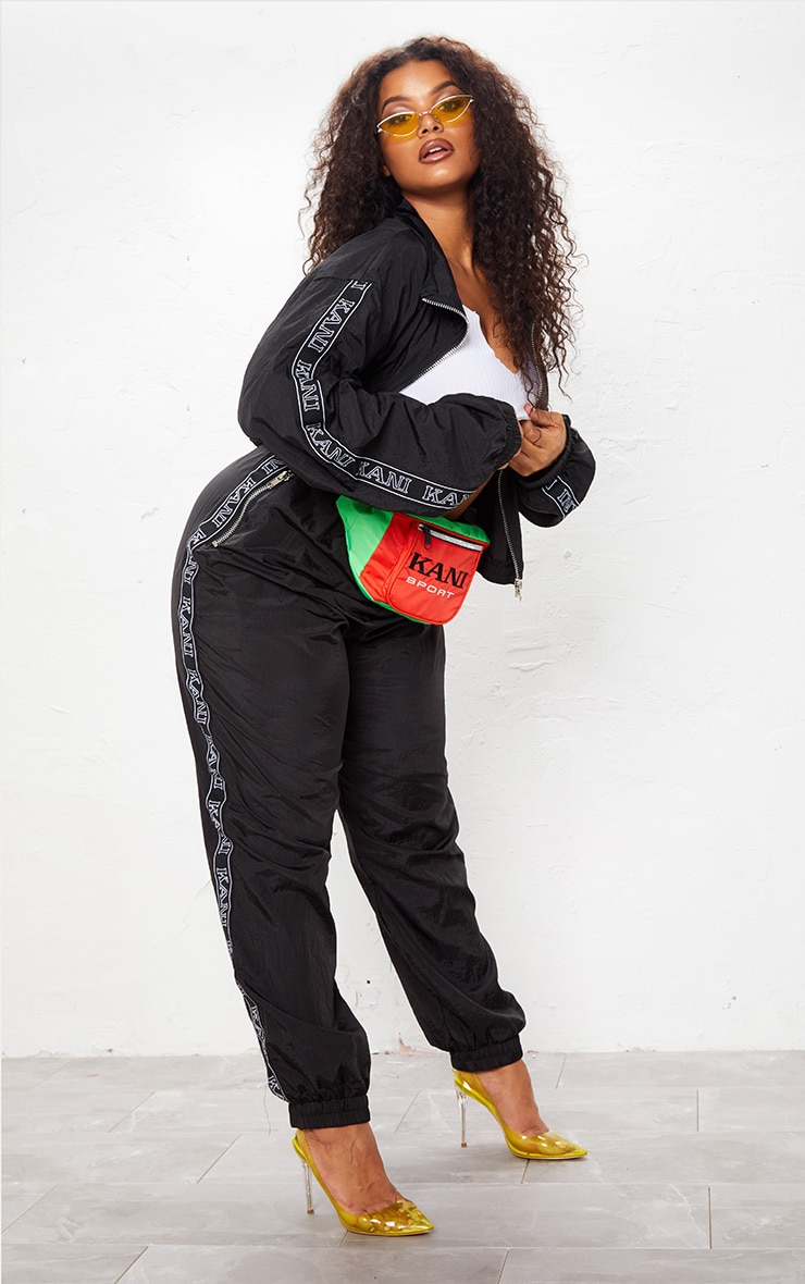 KARL KANI Black Tape Printed Shell Crop Windbreaker 6