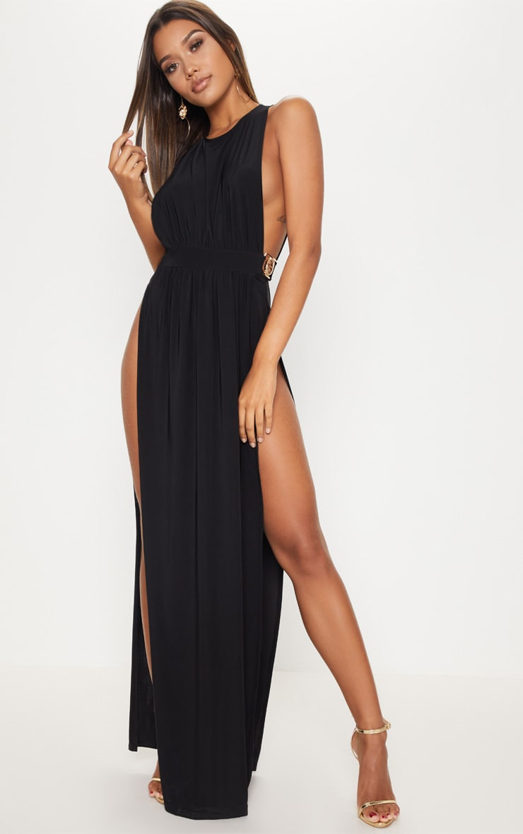 Black Lion Buckle Side Boob Extreme Split Leg Maxi Dress Pretty Little Thing