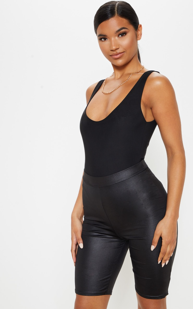 Black Wet Look Ruched Bum Cycle Short 6