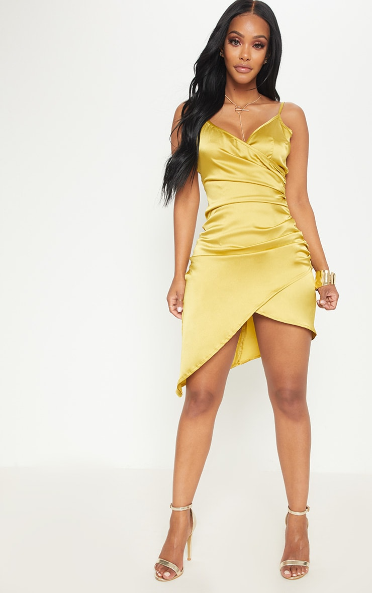 Shape Dark Lime Satin Wrap Dress 4