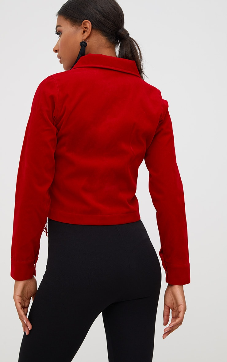 Red Lace Up Faux Suede Jacket 2